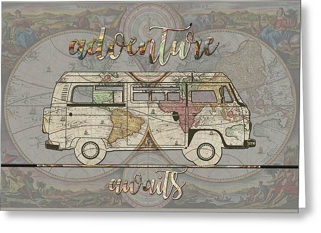 Adventure Awaits World Map Design 4 Greeting Card