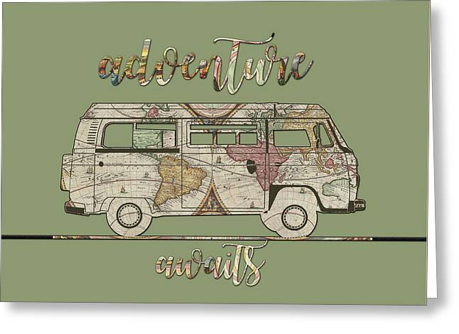 Adventure Awaits World Map Design 5 Greeting Card