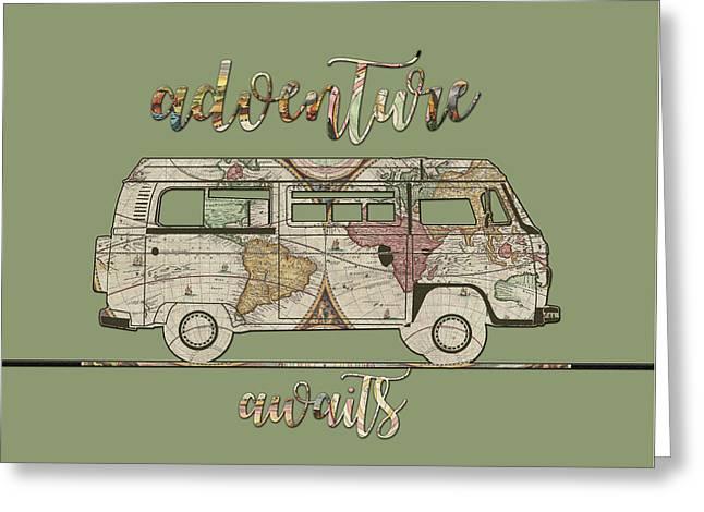 Adventure Awaits World Map Design 5 Greeting Card