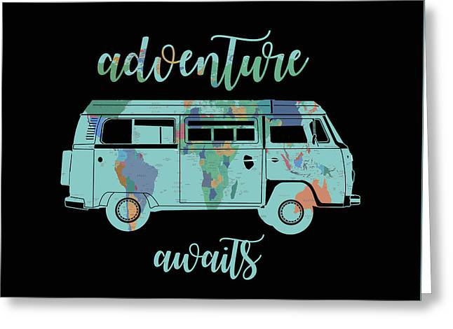 Adventure Awaits World Map Design 7 Greeting Card