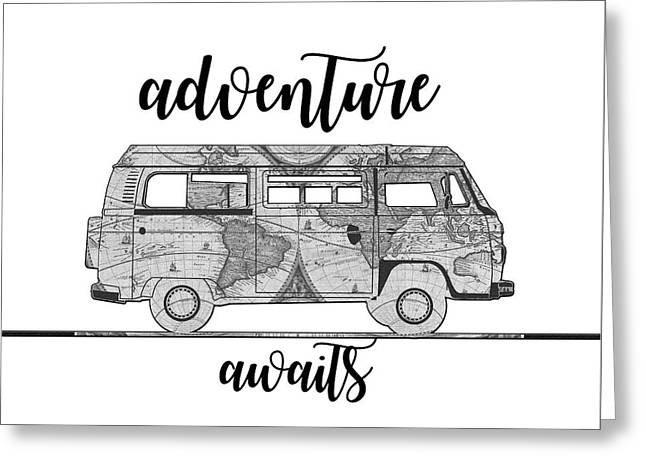 Adventure Awaits World Map Design Greeting Card
