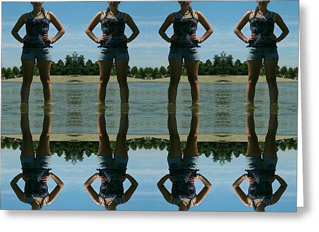 Adventure Girl Twins Reflection Of Thoughts Greeting Card by Scott D Van Osdol