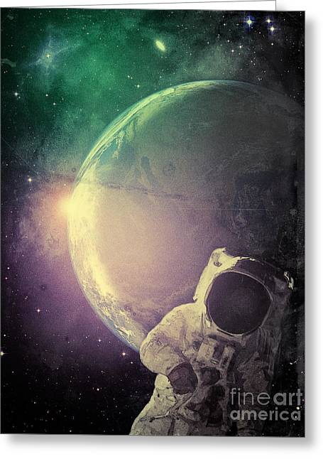 Adventure In Space Greeting Card by Phil Perkins