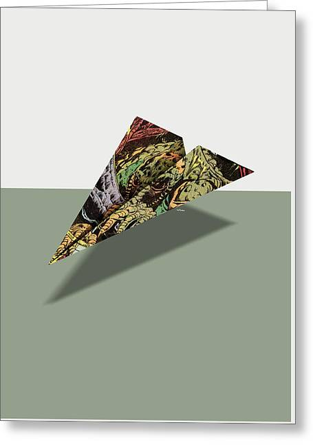 0752adb1eeb6 Greeting Card featuring the digital art Adventure Into Fear Comic Book Ad  Paper Airplane by YoPedro