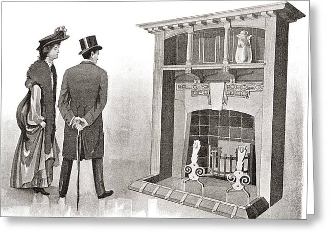 Advertisement For A Fireplace. From The Greeting Card by Vintage Design Pics