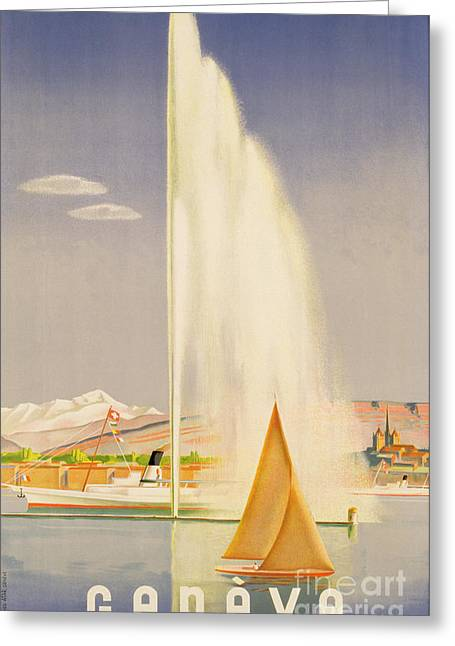 Geyser Greeting Cards - Advertisement for travel to Geneva Greeting Card by Fehr