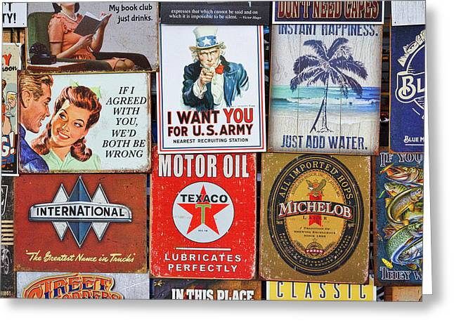 Advertising Signs Display Greeting Card by Stuart Litoff