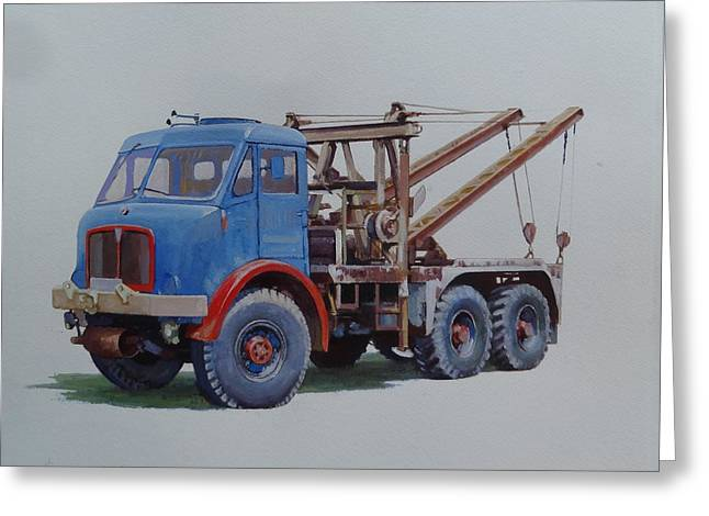 Greeting Card featuring the painting Aec Militant Wrecker. by Mike Jeffries
