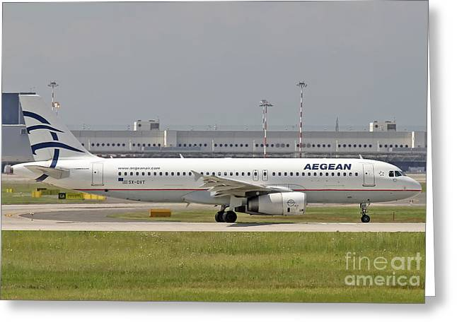 Greeting Card featuring the photograph Aegean Airbus A320 Sx-dvt  by Amos Dor