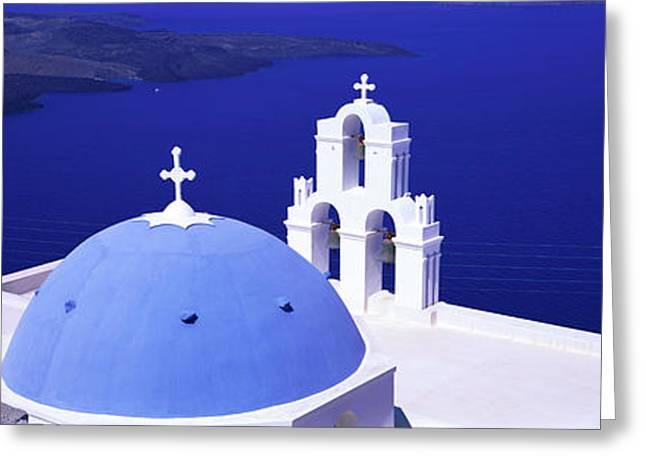Aegean Sea Firostefani Santorini Greece Greeting Card by Panoramic Images