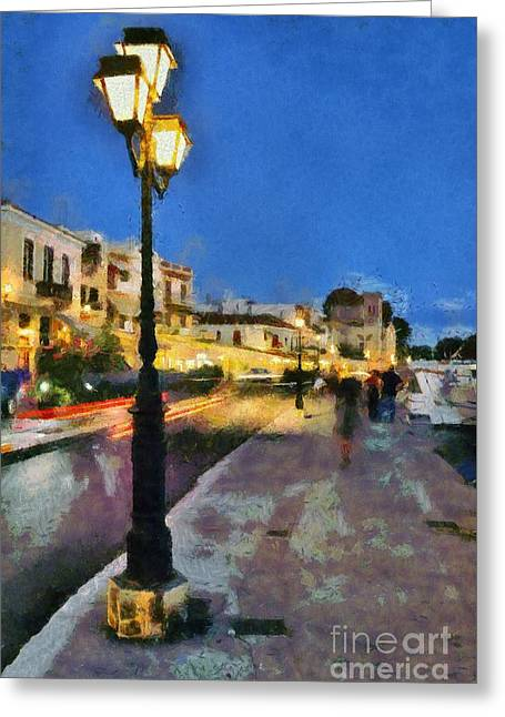 Aegina Harbor During Dusk Time Greeting Card by George Atsametakis