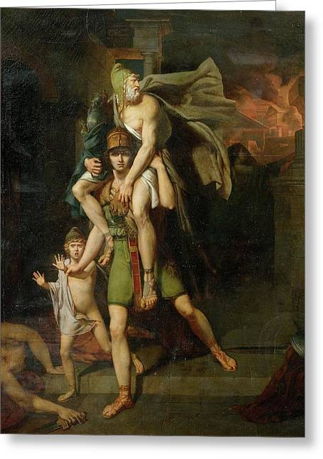 Aeneas Fleeing With His Father Greeting Card