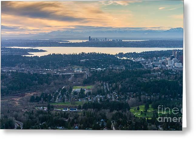 Aerial Bellevue And Seattle Skylines Greeting Card by Mike Reid