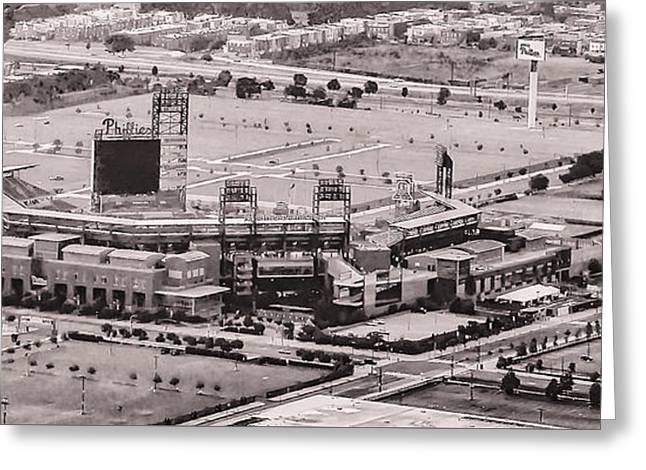 Aerial - Citizens Bank Park In Black And White Greeting Card