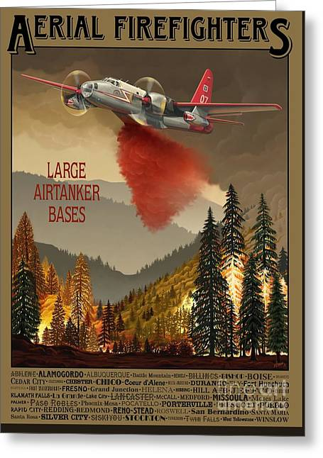 Aerial Firefighters Large Airtanker Bases Greeting Card