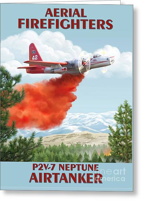 Aerial Firefighters P2v Neptune Greeting Card by Airtanker Art