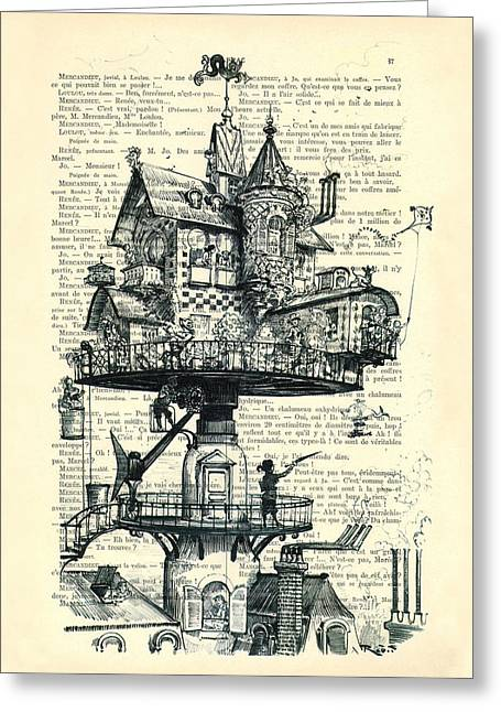 Aerial House Black And White Antique Illustration Greeting Card