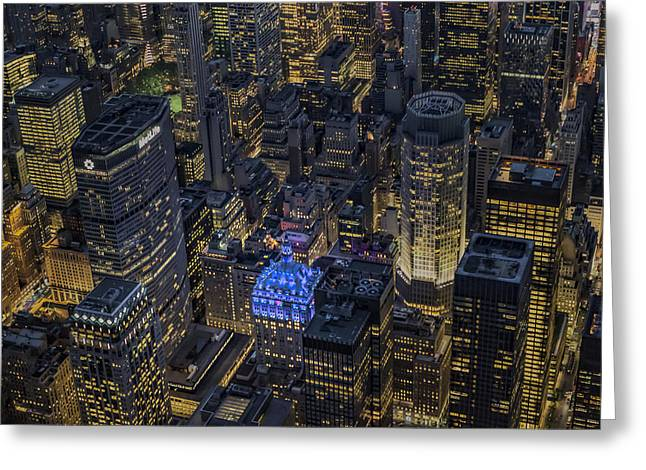 Aerial New York City Skyscrapers Greeting Card by Susan Candelario