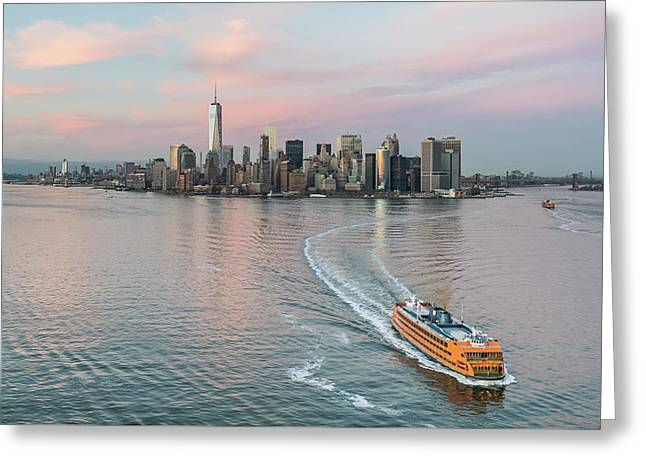 Aerial New York Sunset Greeting Card