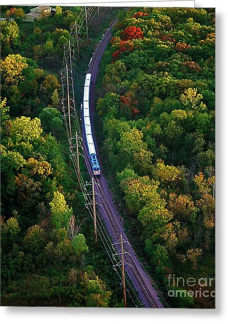 Aerial Of  Commuter Train  Greeting Card