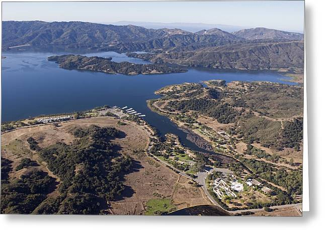Aerial Of Full Lake Casitas Reservoir Greeting Card by Rich Reid