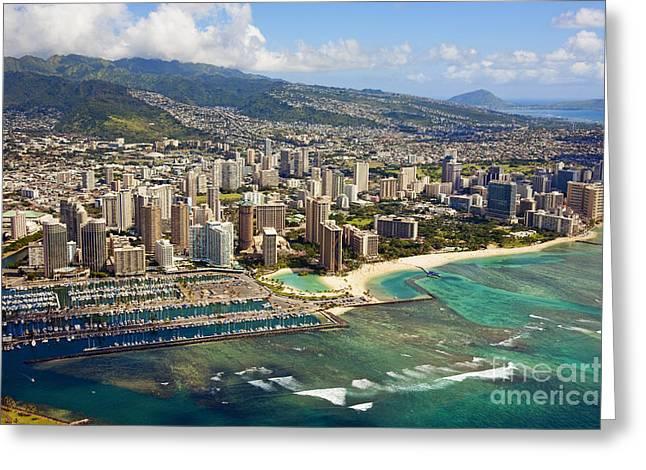 Aerial Of Honolulu Greeting Card
