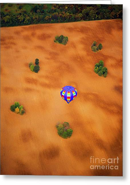 Aerial Of Hot Air Balloon Above Tilled Field Fall Greeting Card