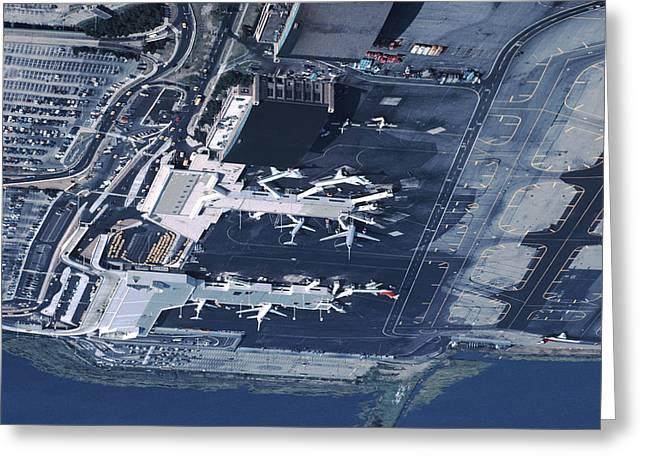 Aerial Of La Guardia Airport In New Greeting Card