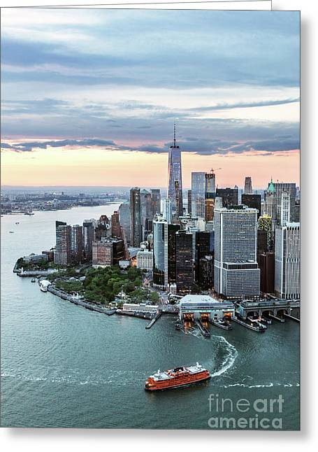 Aerial Of Lower Manhattan Skyline With Staten Island Ferry Boat, Greeting Card