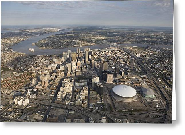 Aerial Of New Orleans Looking East Greeting Card by Tyrone Turner