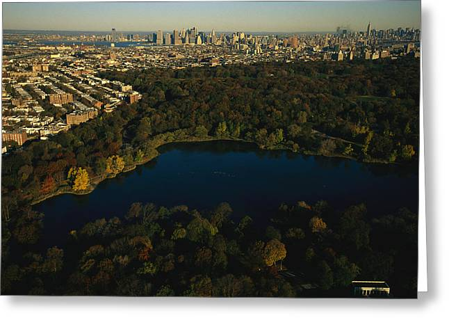 Middle Atlantic States Greeting Cards - Aerial Of Prospect Park Greeting Card by Melissa Farlow