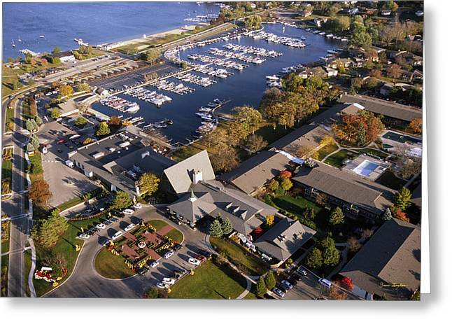 Aerial Of The Abbey Resort And Harbor - Fontana Wisconsin Greeting Card