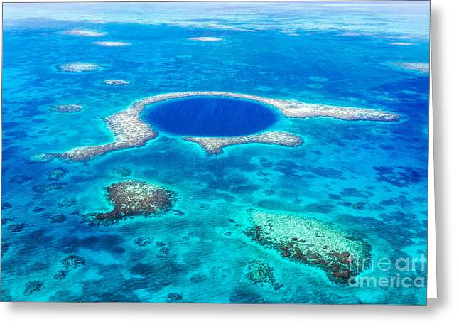 Aerial Of The Great Blue Hole - Belize Greeting Card by Matteo Colombo