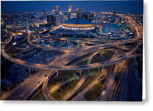 Night Scenes Photographs Greeting Cards - Aerial Of The Superdome In The Downtown Greeting Card by Tyrone Turner
