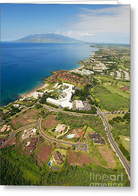 Aerial Of Wailea Coastline Greeting Card by Ron Dahlquist - Printscapes