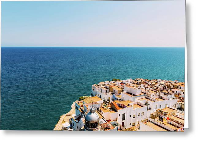 Aerial Panoramic View From Papa Luna Castle Of Peniscola City In Spain Greeting Card by Radu Bercan
