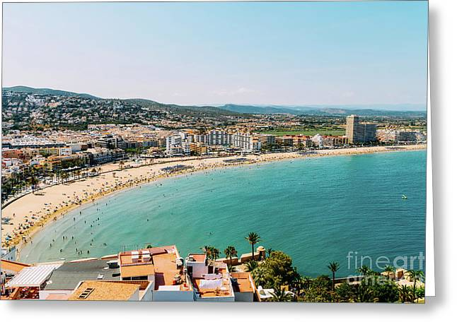 Aerial Panoramic View Of Peniscola City In Spain Greeting Card
