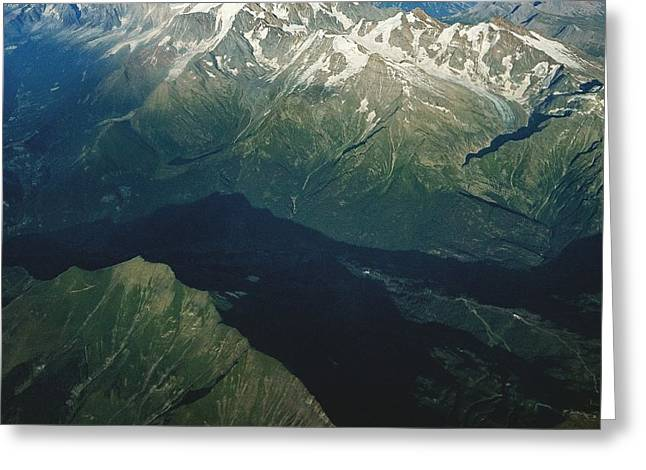 Aerial Photograph Of The Swiss Alps Greeting Card