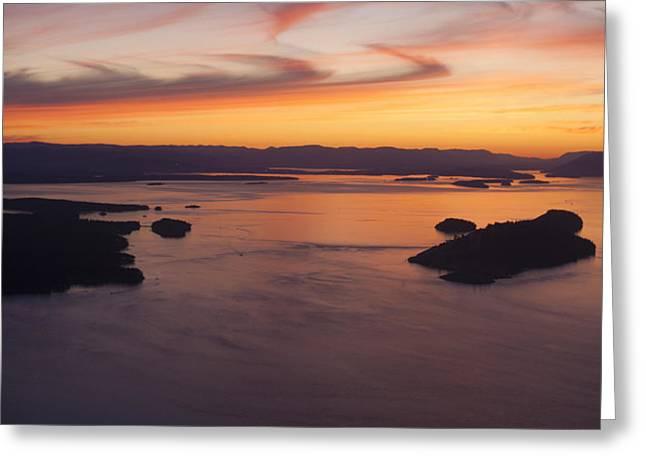 Aerial San Juan Islands Sunset Mood Greeting Card by Mike Reid