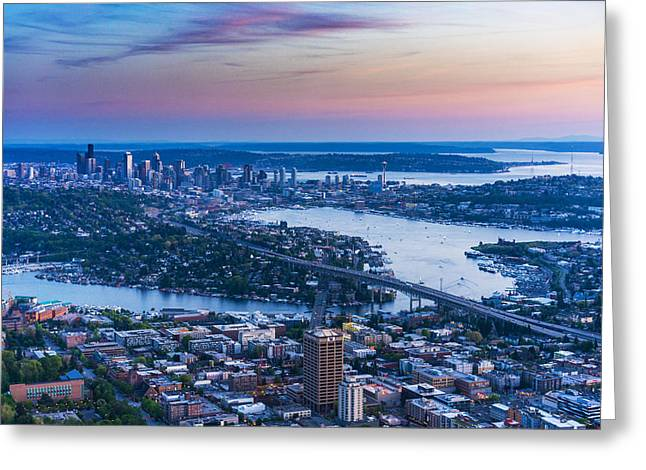 Aerial Seattle Metropolitan Area Greeting Card