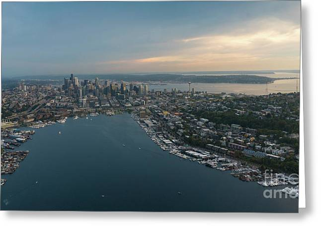 Aerial Seattle Queen Anne Lake Union And Beyond Greeting Card
