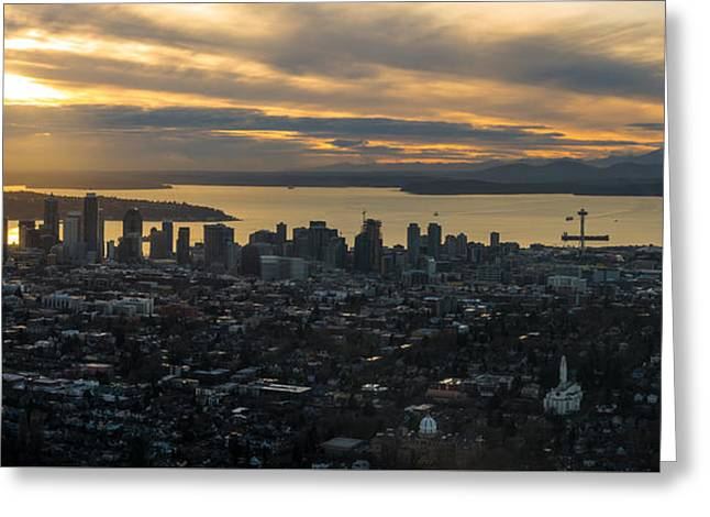 Aerial Seattle Skyline Panorama Looking West Greeting Card by Mike Reid