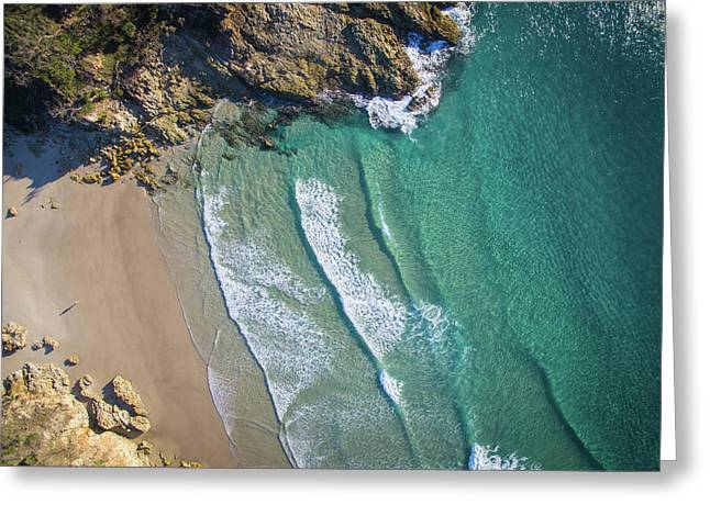 Aerial Shot Of Honeymoon Bay On Moreton Island Greeting Card