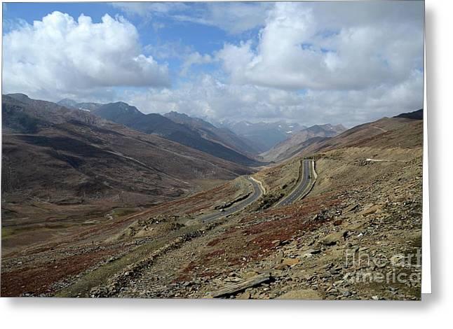 Aerial Shot Of Mountainous Karakoram Highway Babusar Pass Pakistan Greeting Card