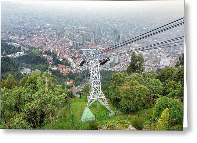 Aerial Tramway And Bogota, Colombia Greeting Card