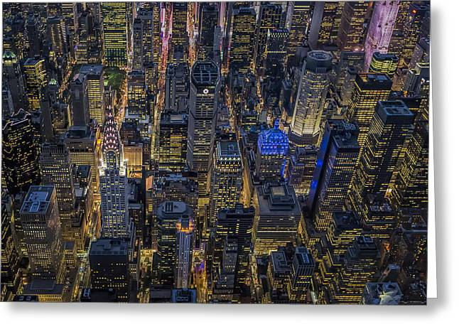 Aerial View Midtown Manhattan Nyc Greeting Card by Susan Candelario