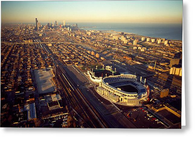Aerial View Of A City, Old Comiskey Greeting Card by Panoramic Images