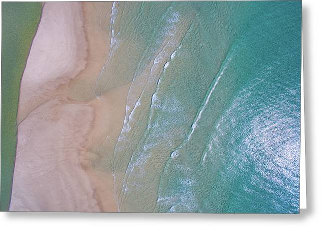 Aerial View Of Beach And Wave Patterns Greeting Card