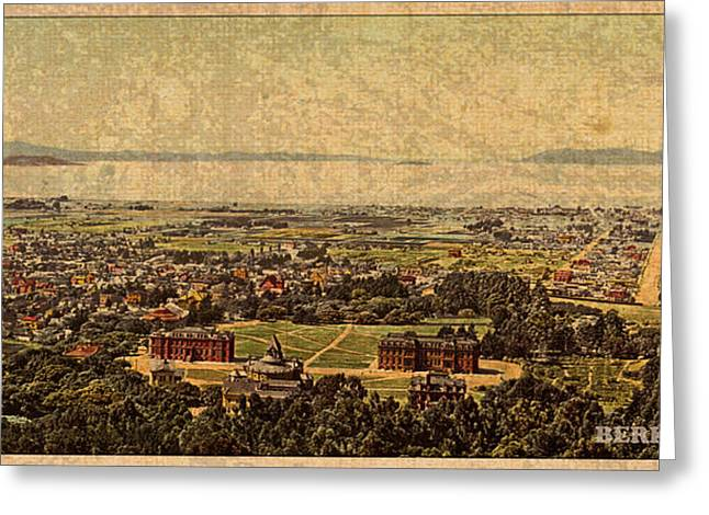 Aerial View Of Berkeley California In 1900 On Worn Distressed Canvas Greeting Card