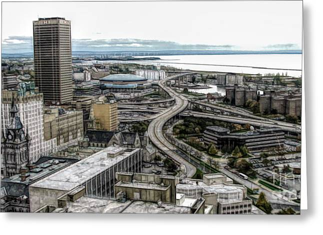 Aerial View Of Buffalo New York 2 Fwc Effect Greeting Card